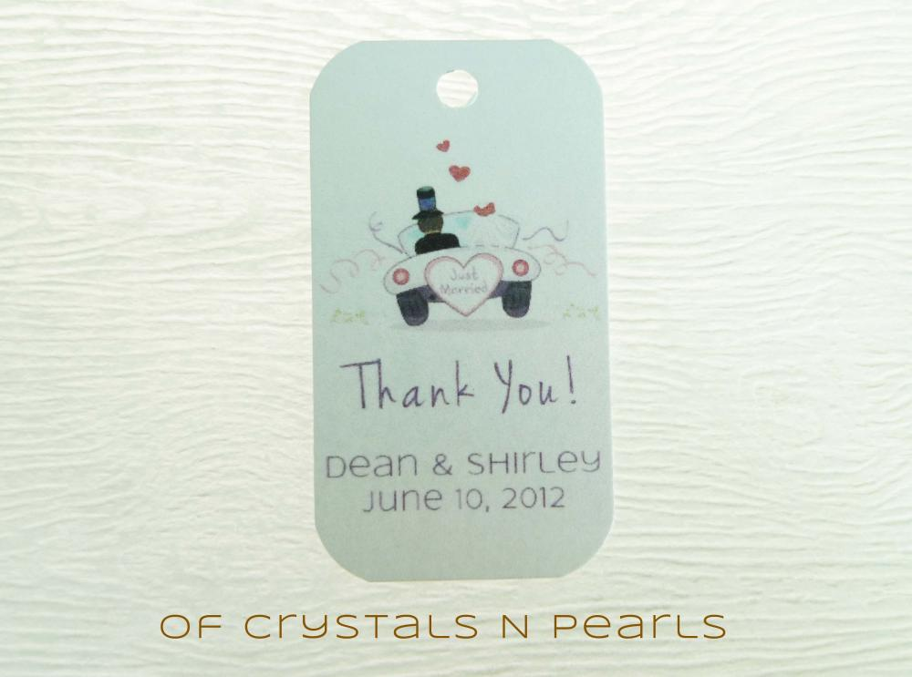 24 Just Married Customised Gift Tags - Wedding Favor Tags - Thank you tags - Wedding Gift Tags